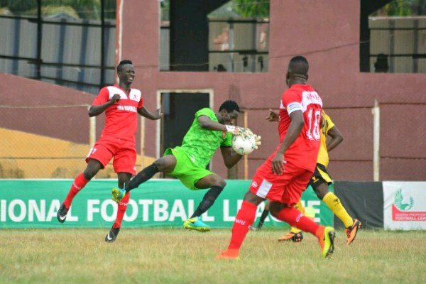 NPFL Review: Okpotu Sent Off As Lobi Stay Top; Sunshine, Abia Warriors Win