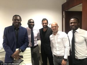 Arsenal invincibles Nwankwo Kanu, Robert Pires, Sol Campbell, Freddie Ljungberg and Lauren reunited at Arsene Wenger's Emirates farewell party
