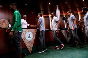 Buhari Hosts Super Eagles, Charges Team To Make Nigeria Proud In Russia