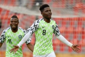 Manchester City's Tom Dele-Bashiru reacts after scoring first goal for Nigeria