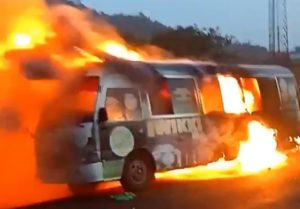 BREAKING! Wikki Tourist Team Bus caught fire on their way to Akwa Ibom for a league Match