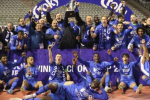 Onuachu, Cyriel Dessers celebrate their first trophy with Genk in Belgium