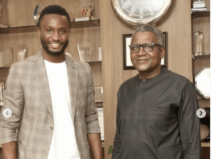 Former Chelsea midfielder MIkel OBi meets Africa's Richest man Dangote