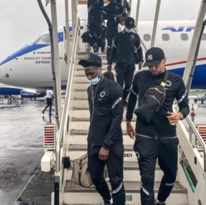 Rohr and his Men touch down in Douala for crunch World Cup qualifier